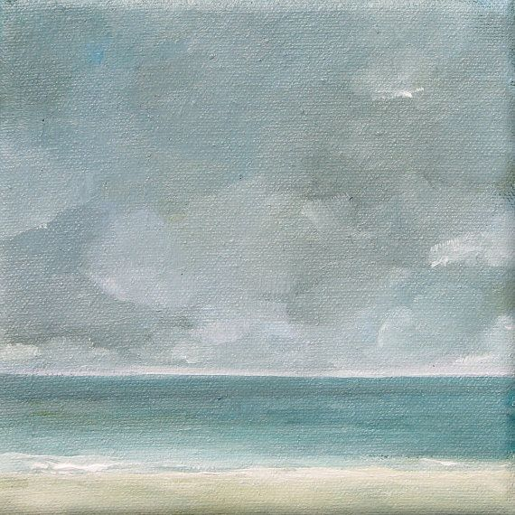 Seascape - Original Oil Painting - 6x6 - Small Paintings - Beach House - Ocean - Surf - Cloudy Sky