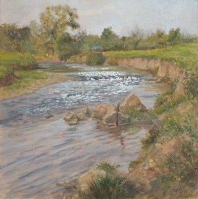 Calm On The Culm appearing in A Sense of Devon oil painting exhibition by Julie Dunster