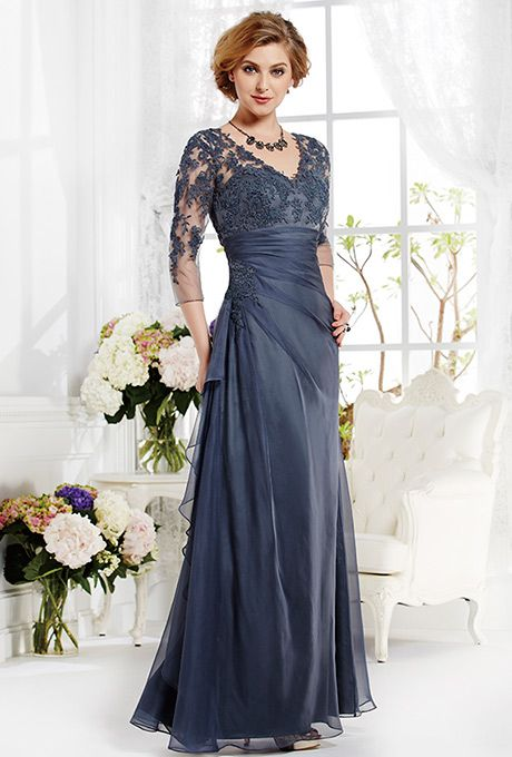 Jade by Jasmine. This popular Madelyn Silky Chiffon gown features a flowing skirt, gathered waistline, and lace bodice with V-neckline and sleeves.