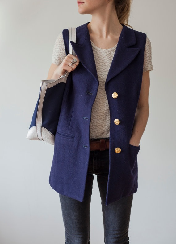Vintage blazer / / navy blue with gold by MarqueeMoonVintage, $35.00