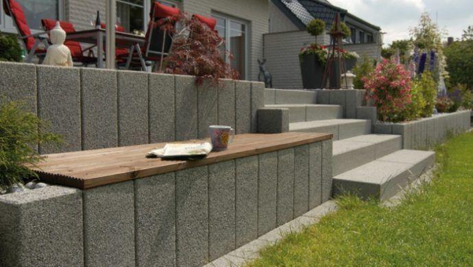 Mauer U-Steine in grau poolside Pinterest Gardens, Garten - hohlsteine fur gartenmauer