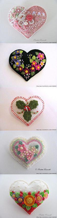 Ideia.  Corações feitos de feltro e tecido / Outros ofícios / PassionForum - master classes em bordado