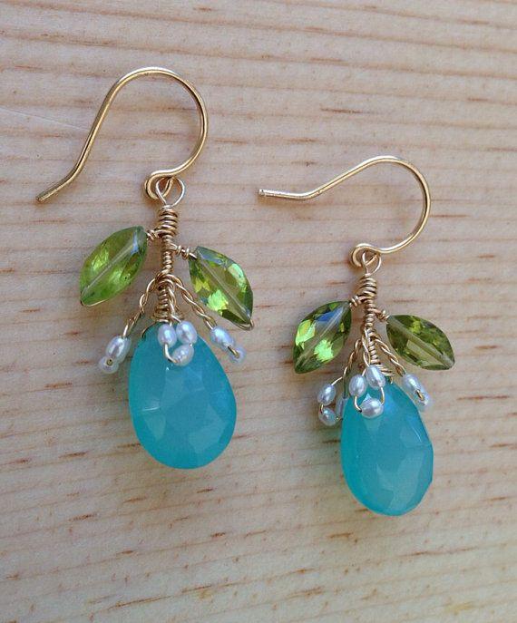 Ohelo Fruit Earrings  Chalcedony Freshwater Pearls by rhodaj, $65.00 #madeinhawaii #fruit #vines #earrings #OOAK #oneofakind #beach #bridal #bridaljewelry #bridesmaidjewelry #hawaii #aloha #mahalo