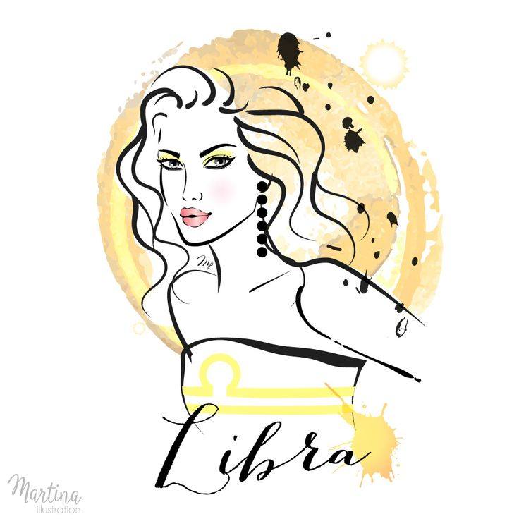 libra horoscope zodiac sign fashion illustration