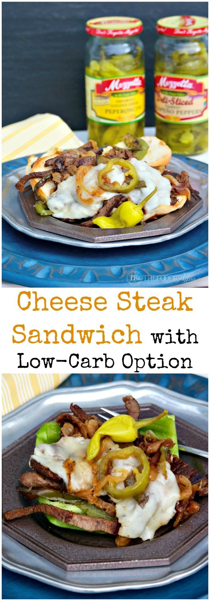 Cheese Steak Sandwich traditional Philly-style with beef, grilled onions, and melted cheese with a low carb option! Elevate the flavor with #Mezzetta jalapeno peppers and peperoncinis! #Ad #BoldBrightSummer
