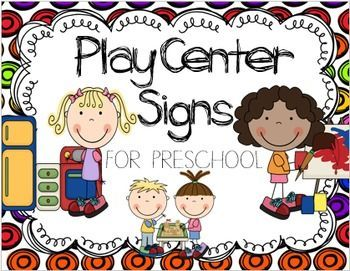"""Center Labels for Preschool will be a colorful addition to your classroom.  Each poster has an """"I Am"""" statement that states the important skills that the children are working on. I also included mini-signs to use to create a board for teachers to choose play groups or for students to have a visual as to how many students are in the area."""