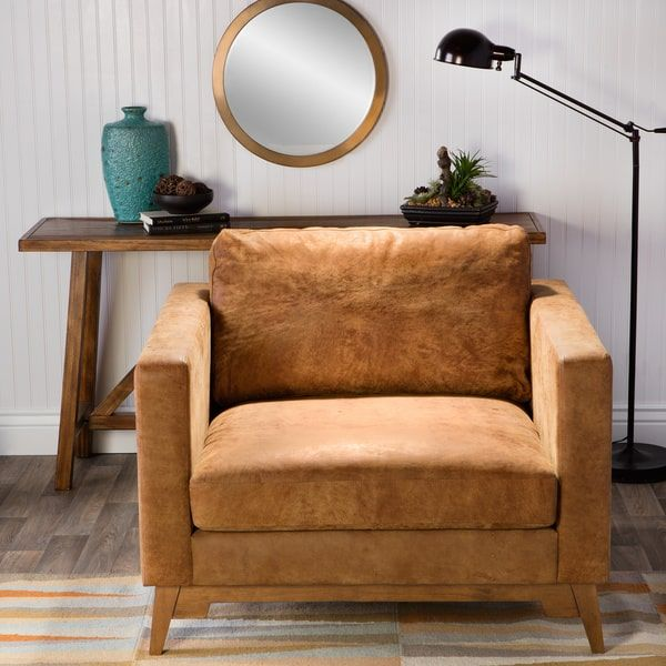 Filmore Oversized Tan Italian Leather Club Chair   Overstock.com Shopping - The Best Deals on Living Room Chairs