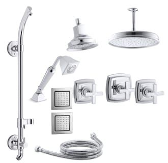 View the Kohler K-MARGAUX-MS18HR-3E Margaux Thermostatic HydroRail Eco Shower System with Single Function Shower Head, Hand Shower, Rain Head, Body Sprays, Cross Handle Valve Trims at FaucetDirect.com.