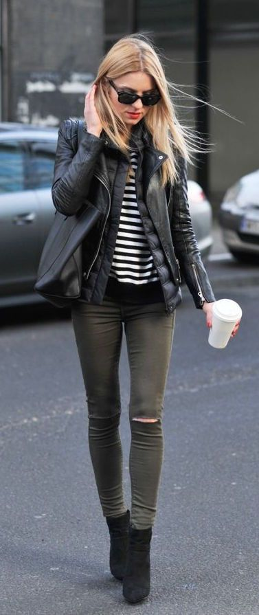 Leather jacket, striped top, army green skinny jeans, ankle boots, edgy outfit, street style
