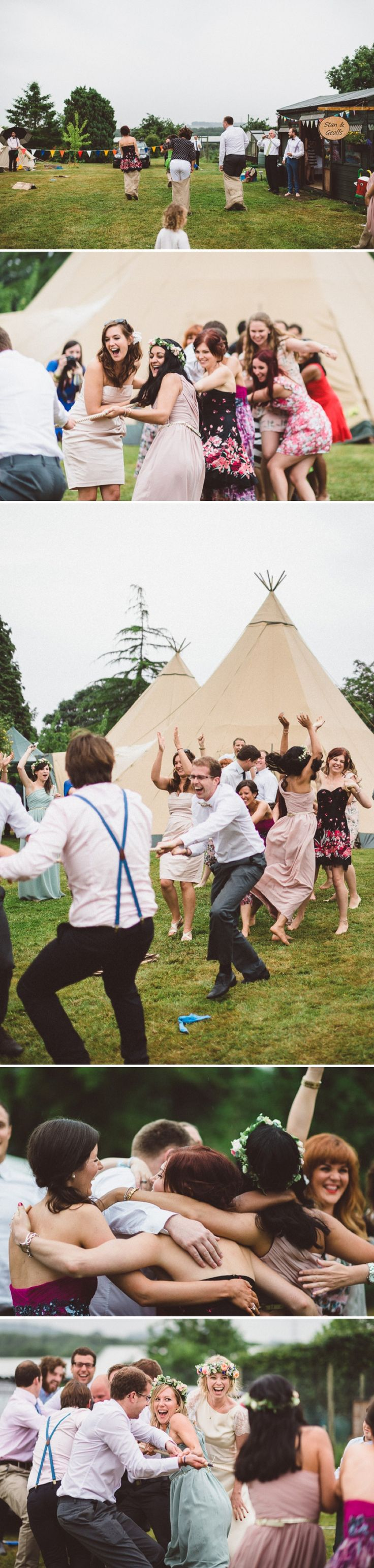 A Beautiful Bohemian Back Garden English Wedding With A Silk Charlie Brear Dress With Lace Cap Sleeves And Flower Crowns From Rhys Parker Ph...