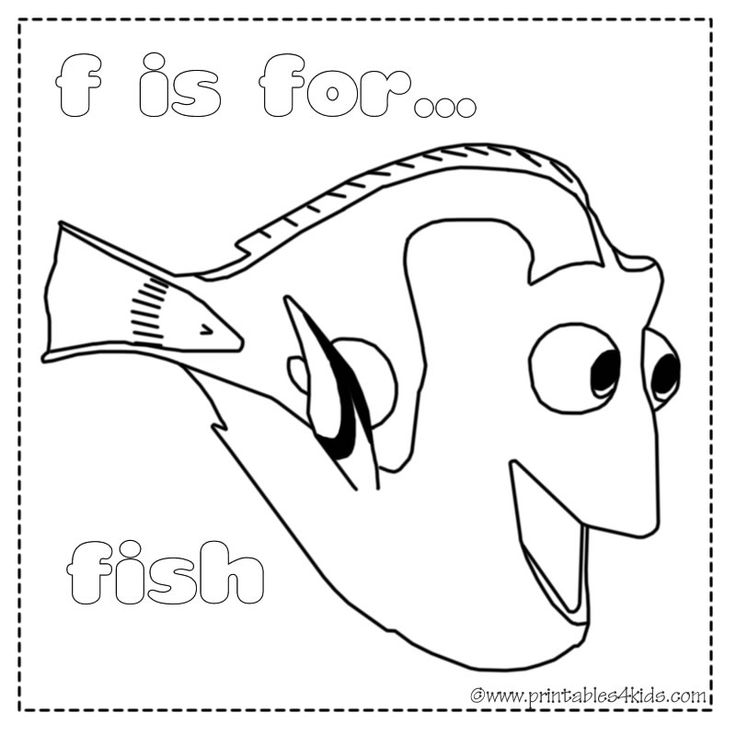 F is for fish coloring page : Printables for Kids