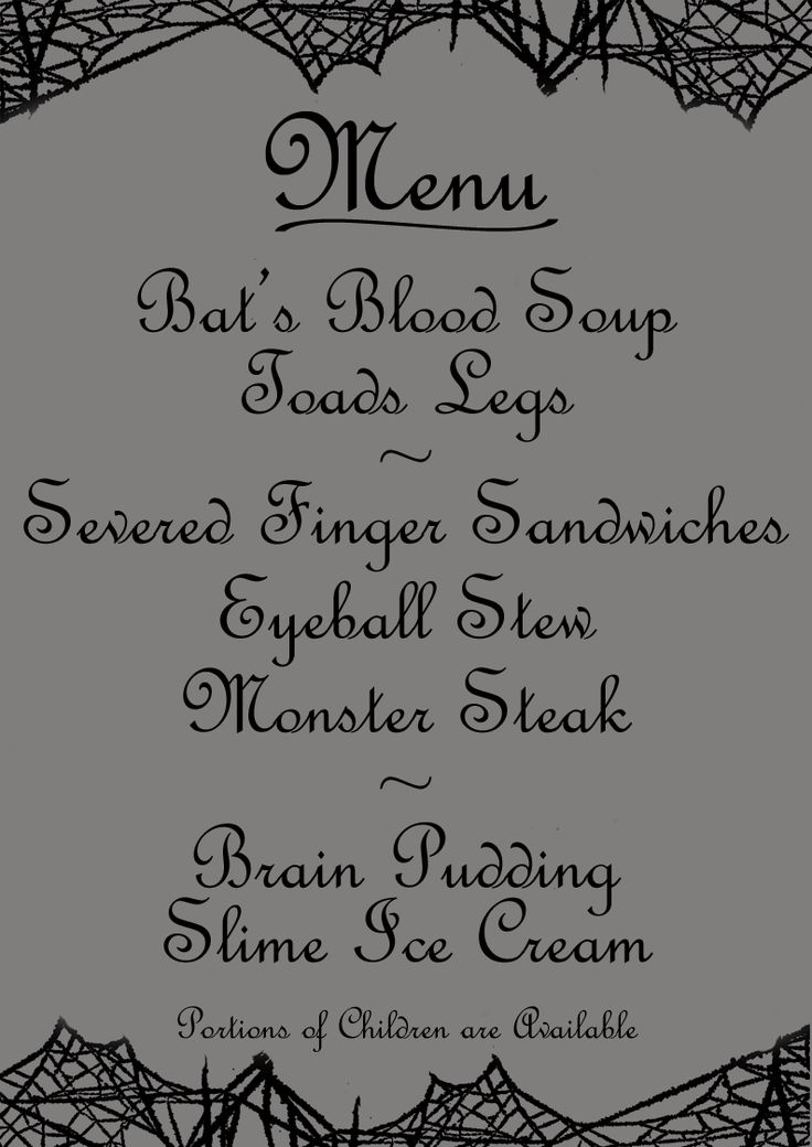 Silly Halloween menu printable with nasty-sounding dishes! Free to print/download, A4 or Letter size