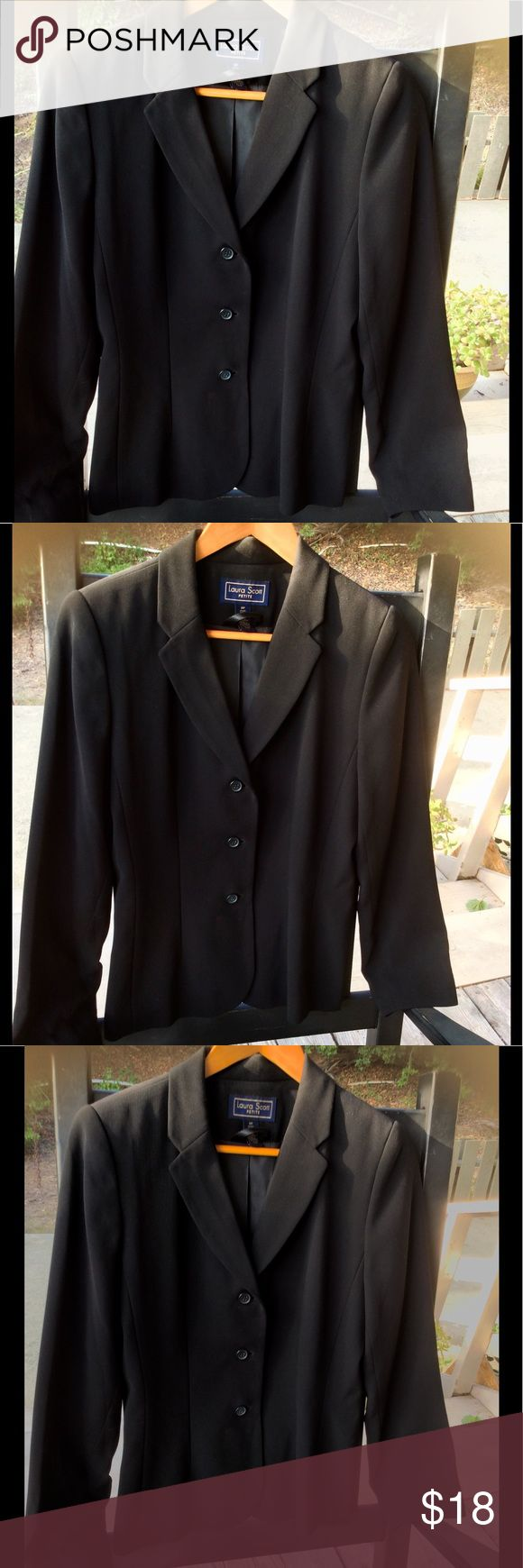 Lauren Scott Retro 40's Style Fitted Black Jacket Lauren Scott Petite Retro 40's Style Fitted Black Jacket size 8P , Slight padded Shoulder for that slim lean look. Constructed. A wardrobe must have. Great Condition Laura Scott Jackets & Coats Blazers