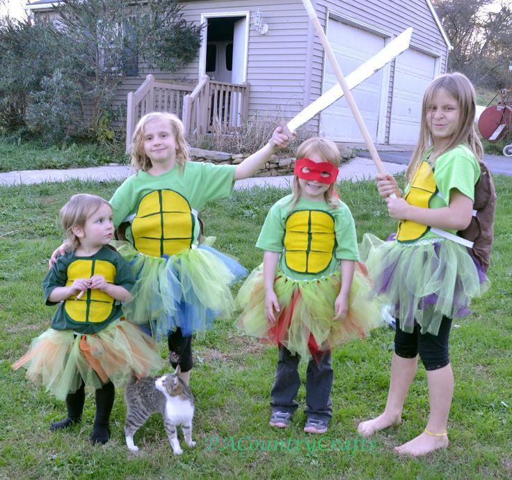 DIY Girls' Ninja Turtle Costumes- with TUTUS!