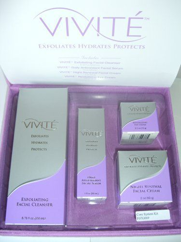 Vivite Skin Care System by Vivite. $141.11. Rejuvenates aging skin. Exfoliating Facial Cleanser - Cleanses and smoothes to refine skin gently and effectively. The dual action of manual and chemical exfoliation thoroughly dissolves skin cell build-up. Rich, creamy lather without a soap base.  Daily Antioxidant Facial Serum - 1 oz Exfoliates, hydrates, and protects skin while reducing the appearance of fine lines and wrinkles. Perfect for use under makeup.  Night Renewal C...