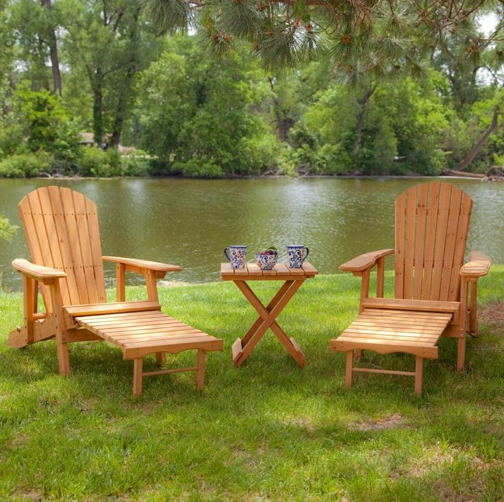 Patio Furniture Set Table Outdoor Natural Wood Adirondack Recliner Chair Ottoman
