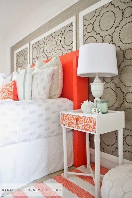 Thinking about adding some color to our headboard like what had been done to this end table