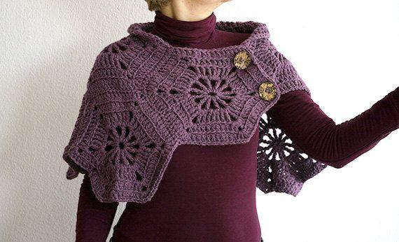 CROCHET SHOULDER WRAP, Crochet capelet / poncho , Shoulder Warmer, Shawl, Cowl in purple