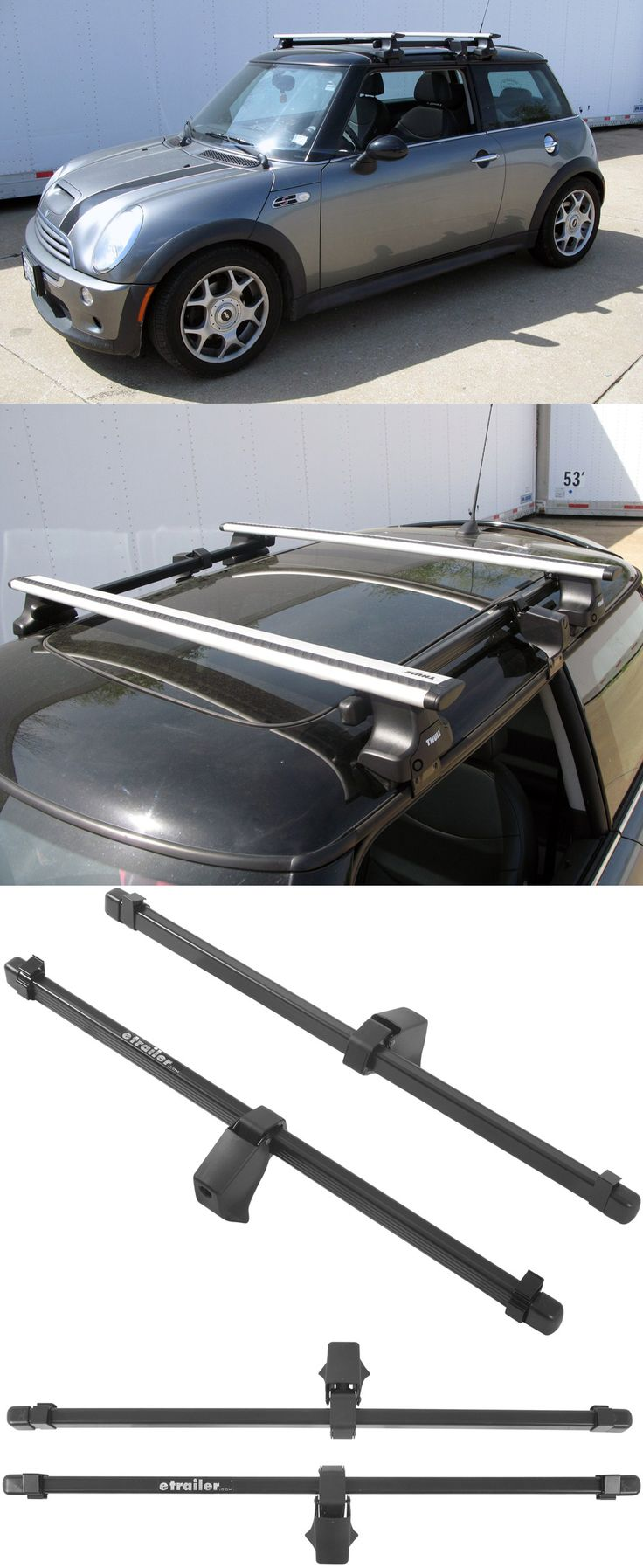 Thule square load bars attach to the thule roof rack feet to create a sturdy