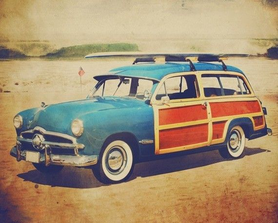 : Vintage, Cars, Fine Art, Beach, Art Photo