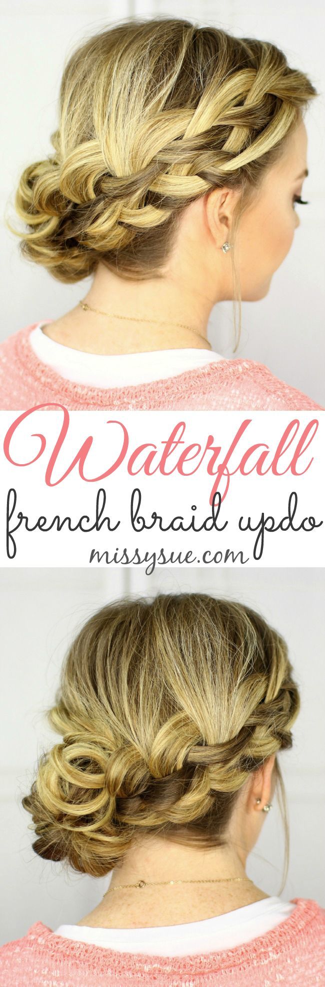 French braiding tips - Waterfall French Braid Updo