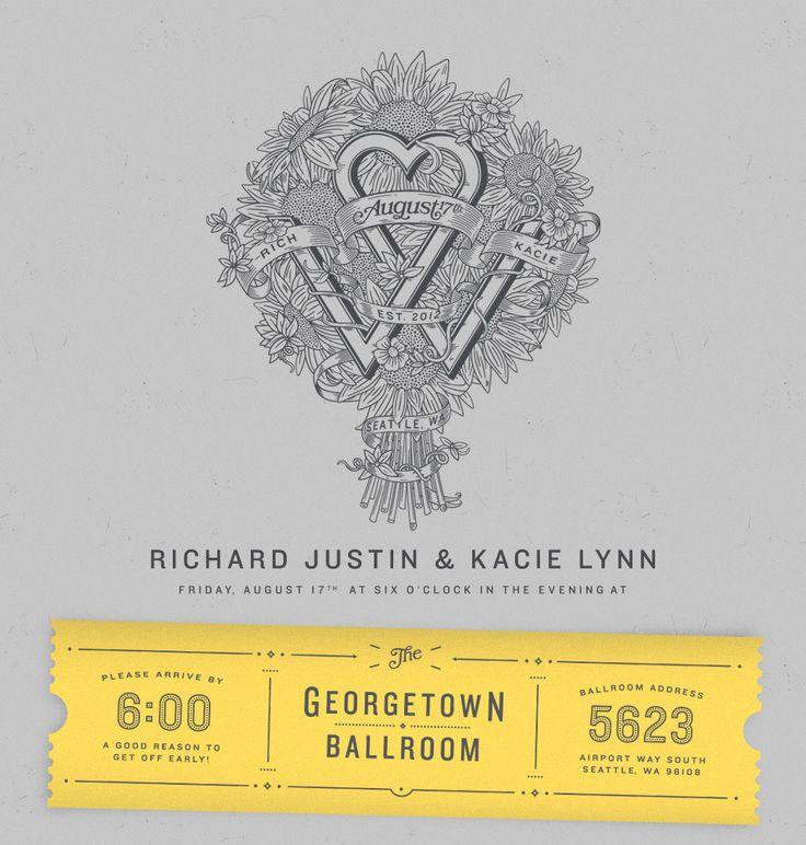 Rich and Kacie: Graphic Design, Posters Graphic, Retro Wedding, Wedding Invitation, Design Typography, Invite Typography, Designed Wedding