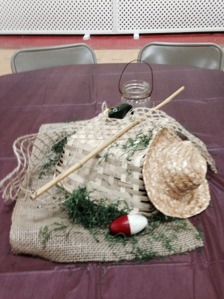 Fishing Themed Centerpiece Used For Father S Day Rustic Centerpieces Pinterest Father S