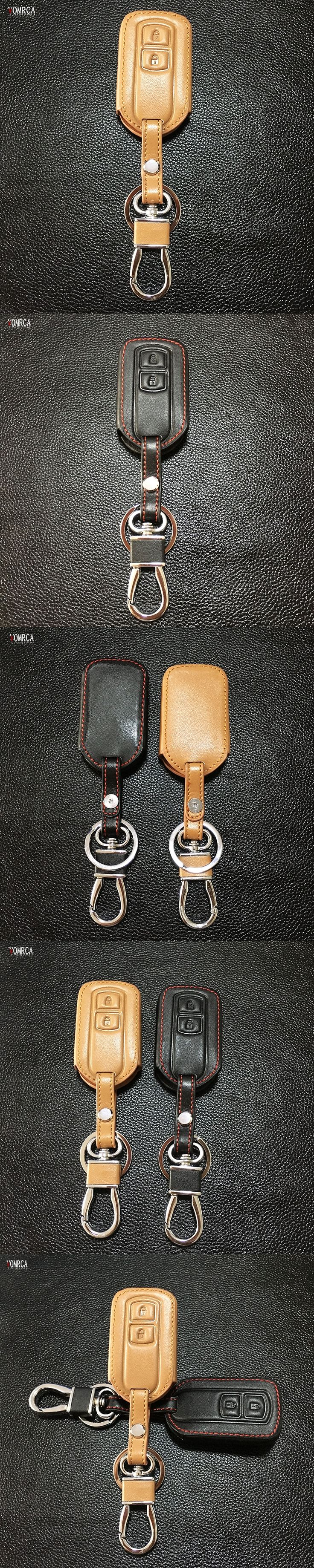 High quality Genuine leather car key case Skin Case Cover fob key for Toyota Vios Keychain 2 buttons protect shell starline a91