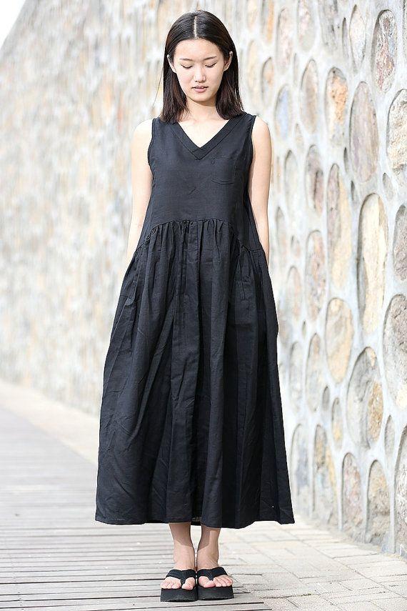 Black linen dress maxi dress summer casual dress C274 by YL1dress