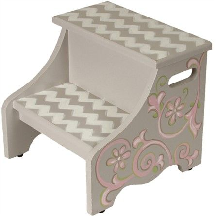 hand painted little girls stool | ... > Footstools & Step Stools for Kids > Graceful Chevron Step Stool