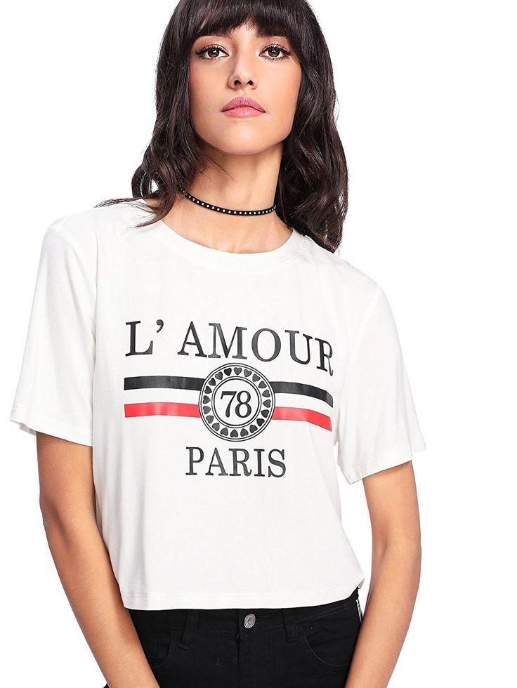 eb7b12d45554b Women s Short Sleeve Funny Print Cute Graphic Crop Top T-Shirt ...