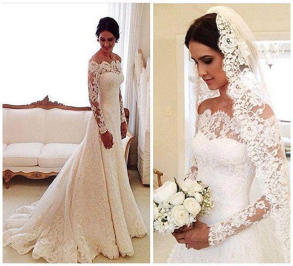 2016 Vestidos De Novia Lace Wedding Dresses Off Shoulder Applique A Line Pleats Long Sleeves Vintage Bridal Gowns With Buttons Back