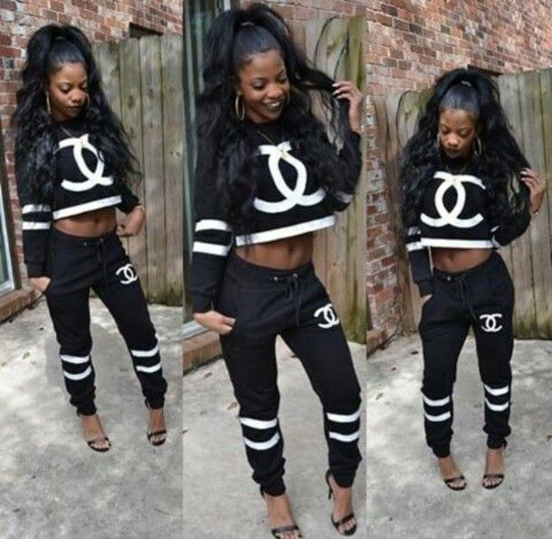 sweater crop outfit tumblr outfit baddies bad bitches link up black girls killin it two-piece joggers black and white chanel t-shirt coco sweater chanel purse chanel pants sweatshirt urban hat