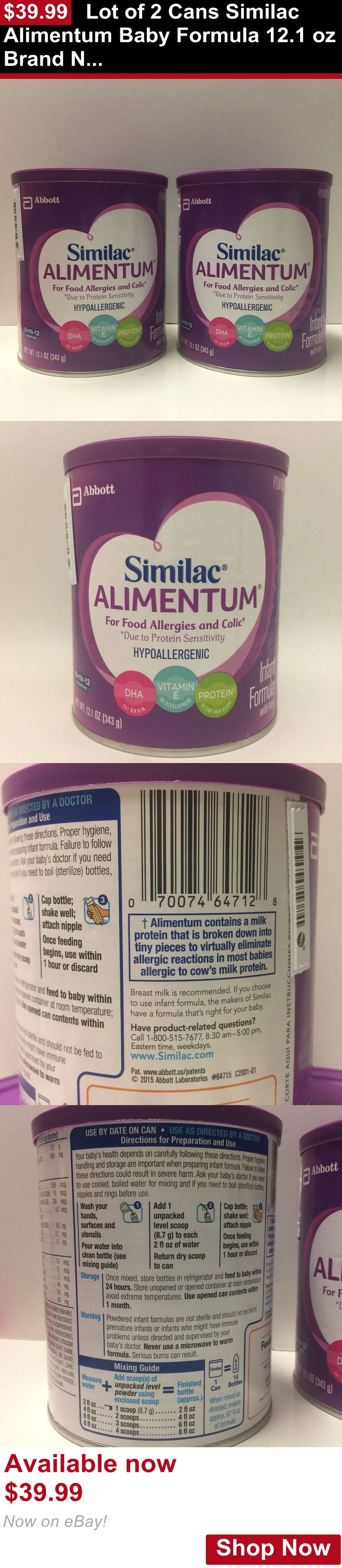 Baby Formula: Lot Of 2 Cans Similac Alimentum Baby Formula 12.1 Oz Brand New Exp. 09/2019 BUY IT NOW ONLY: $39.99