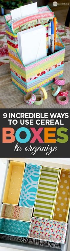 Cereal boxes, cereal box organization, DIY organization, popular pin, repurposed organization, DIY storage, easy storage options, home improvement, easy home improvement.