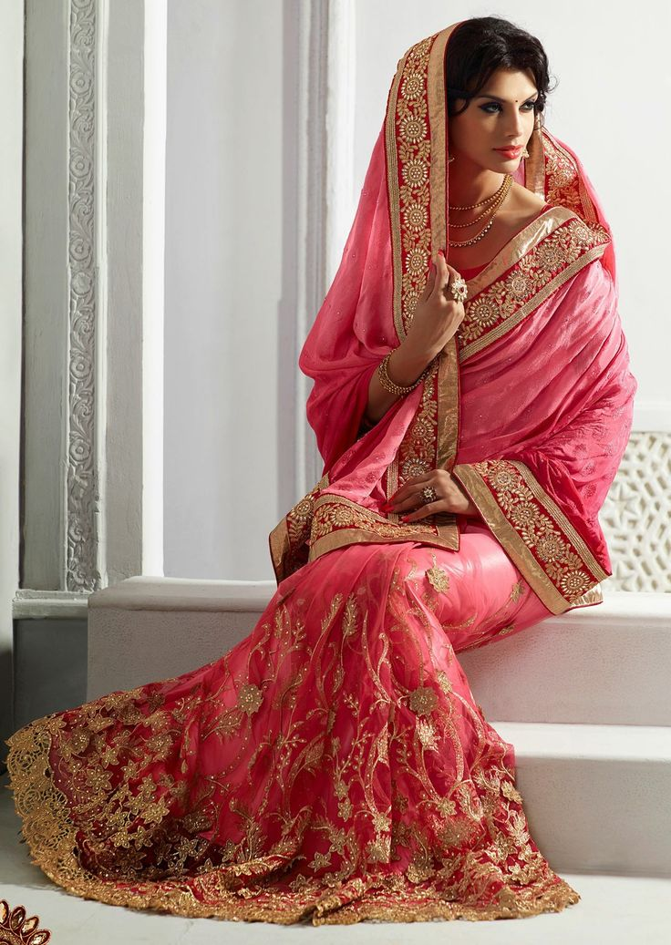 #rakhigiftideas #India #mruga Divine Salmon Embroidered Saree