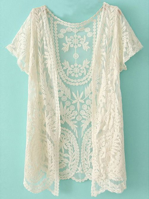 Online shopping for White Short Sleeve Crochet Net Lace Cardigan from a great selection of women's fashion clothing & more at MakeMeChic.COM.