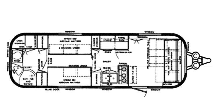 The Vintage Airstream Ambassador Travel Trailer Floor Plan