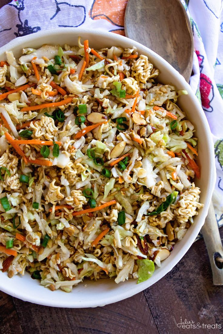 Asian Ramen Salad ~ Quick, Easy and Full of Flavor! It's the Perfect Potluck Salad and Only takes Minutes to Throw Together! Sweet, Savory and Delicious with the Perfect Amount of Crunch!