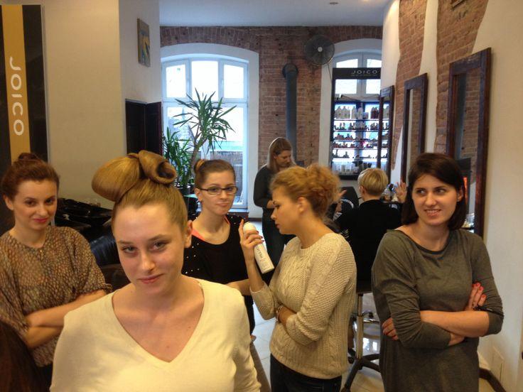 Training in hair salon. pj rules;)