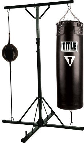 TITLE Double Trouble Bag Stand w/Bags by Title Boxing. $269.99. Constructed of heavy-duty powder-coated tubular steel. A super versatile and sturdy bag stand that can accommodate two heavy bags up to 125 lbs. each, a heavy bag and a double end bag, or two double end bags. Easily adjusts for different users, ceiling heights or type of bags being hung. Complete with two bottom D-ring bag anchors, two top D-ring bag attachments and two weight bars for adding additional stabilizing w...