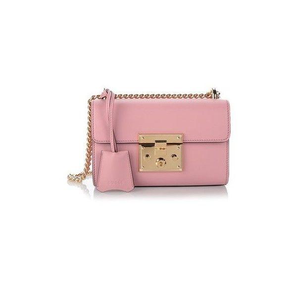 GUCCI Pink Leather 'Padlock' Shoulder Bag (5.440 BRL) ❤ liked on Polyvore featuring bags, handbags, shoulder bags, pink, pink leather purse, pink shoulder bag, red handbags, leather shoulder bag and red leather handbag