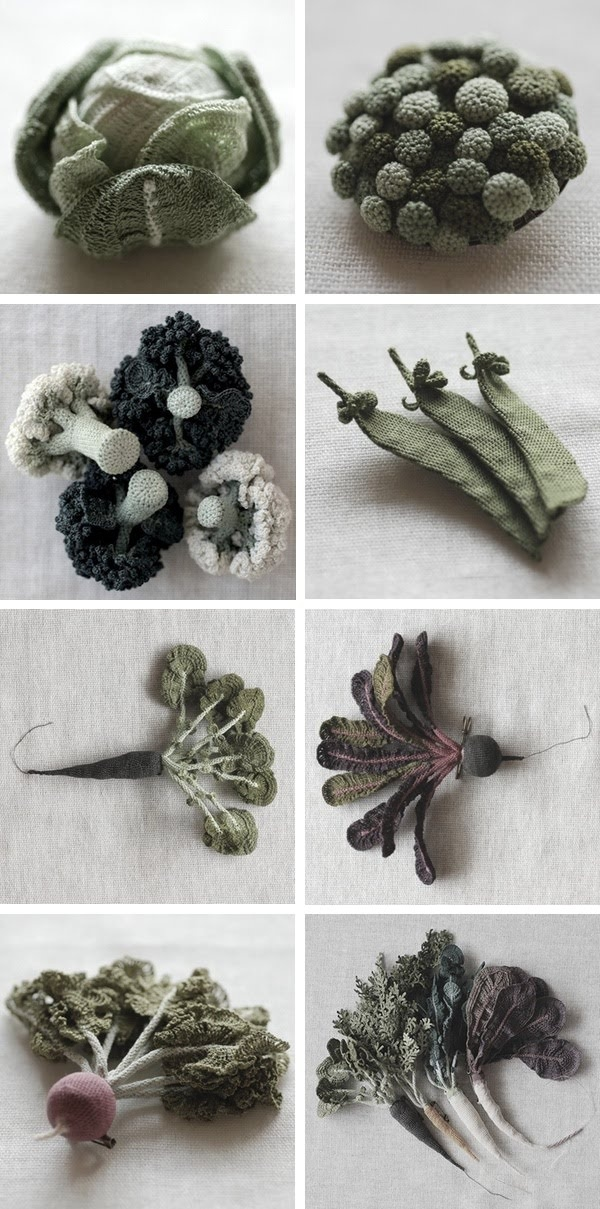 Jung-jung's knitted vegetables. I might even eat cauliflower if if looked this good! Maybe not . . .
