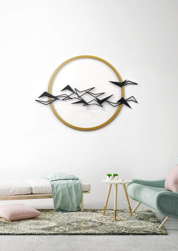 Black Birds Metal Wall Art Metal Home Decor Flying Birds Etsy Wall Art Living Room Metal Wall Art Room Wall Art