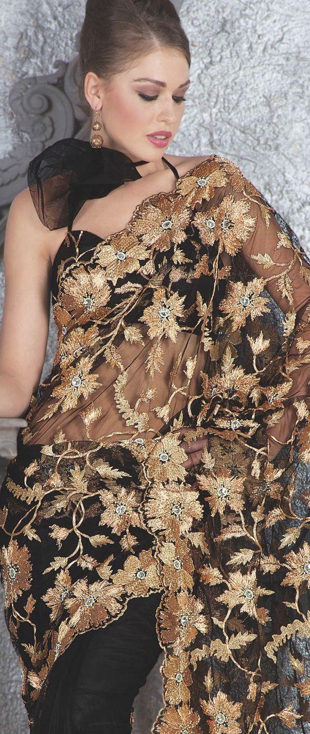 Black Net Saree With Blouse