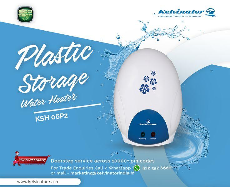 Plastic storage water heater. #Kelvinator #WaterHeaters #EcoFriendly #SaveEnergy #EcoTech Visit our website to see a wide range of water heaters. http://kelvinator-sa.in/