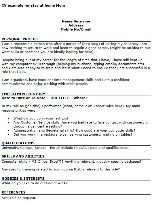 resume for stay at home returning to work examples - Josemulinohouse - resume tips for stay at home