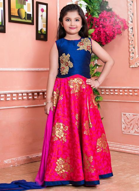 6e0ce8f2a6 Buy Navy Blue N Pink Art Silk Kids Lehenga online, SKU Code: KDMTK7097RANI.  This Blue color girls lehenga for Kids comes with Stones Art Silk. Shop Now!