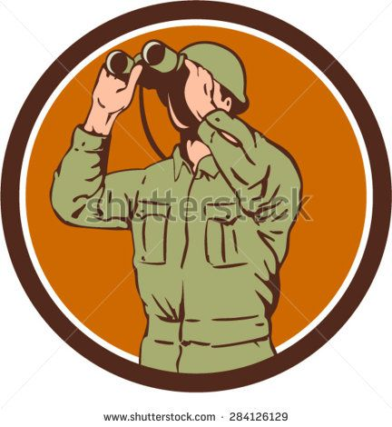 Illustration of a World War One American soldier serviceman looking through the binoculars set inside circle on isolated background done in retro style.   #soldier #veteran #retro #illustration