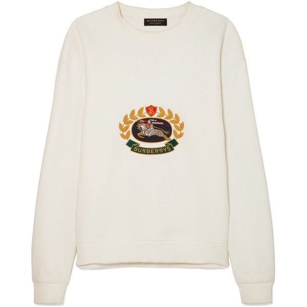 Burberry Embroidered cotton-blend jersey sweatshirt found on Polyvore featuring tops, hoodies, sweatshirts, ivory, cotton jersey, embroidery top, ivory top, embroidered top and equestrian sweatshirt